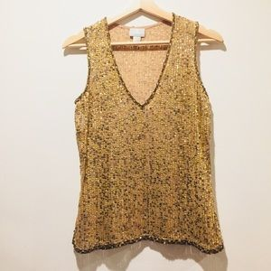 Tracy Reese gold sequin sleeveless top